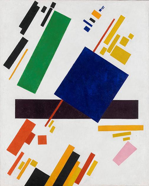 «Супрематическая композиция (синий прямоугольник поверх красного луча)», 1916 год