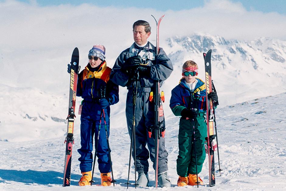 Чарльз с сыновьями Уильямом и Гарри в Швейцарии, 1994 год