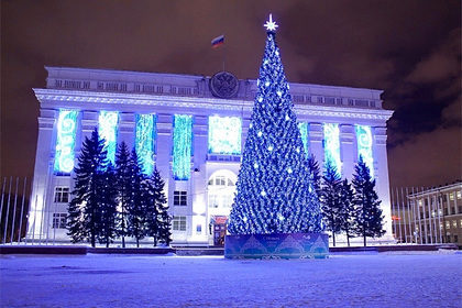 На главной площади Кемерово поставили самую дорогую в стране новогоднюю елку