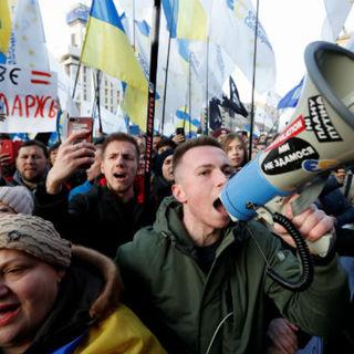 Акция оппозиции на площади Независимости в центре Киева