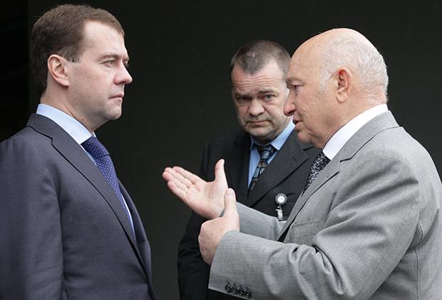 Дмитрий Медведев и Юрий Лужков, 2010 год