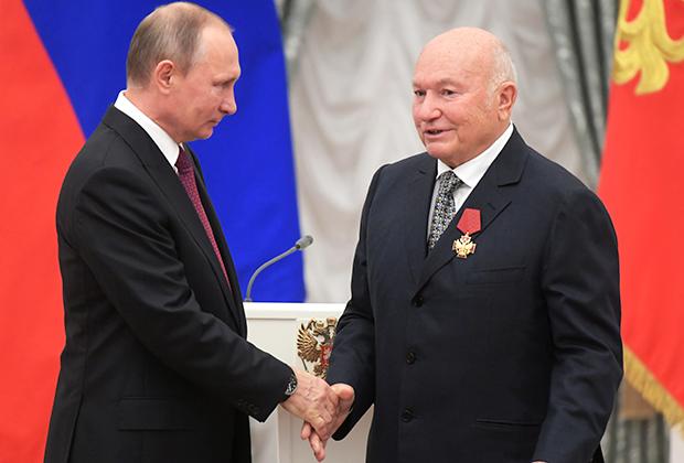 Владимир Путин и бывший мэр Москвы на церемонии вручения государственных наград за выдающиеся достижения