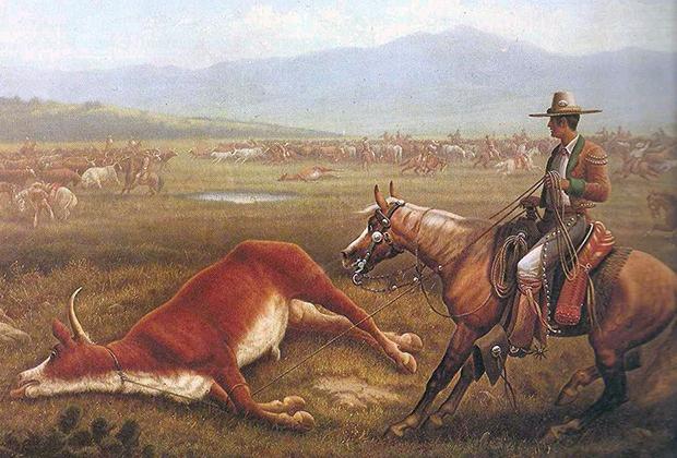 У конных пастухов-вакеро ковбои переняли шляпы, кожаные чехлы чапас на штанах и характерные жилетки. «Вакеро за работой», Верхняя Калифорния, Мексика, 1830-е годы