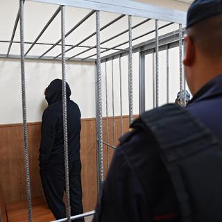 Олег Медведев (Шишканов) во время заседания Басманного районного суда