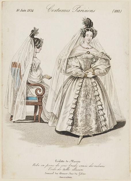Иллюстрация из модного журнала Costumes Parisiens, 1834 год