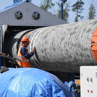 Рабочий на участке строительства газопровода «Северный поток-2»