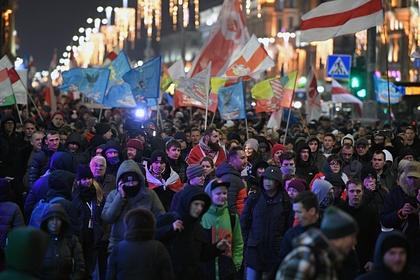 Участники несанкционированной акции в центре Минска (архивное фото)