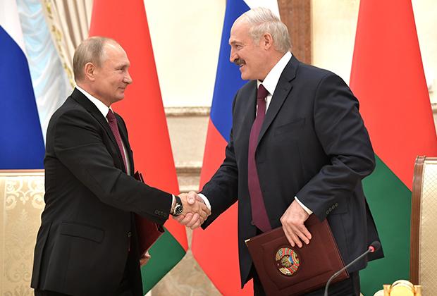 Президенты России и Белоруссии после заседания Высшего государственного совета Союзного государства, 19 июня 2018 года