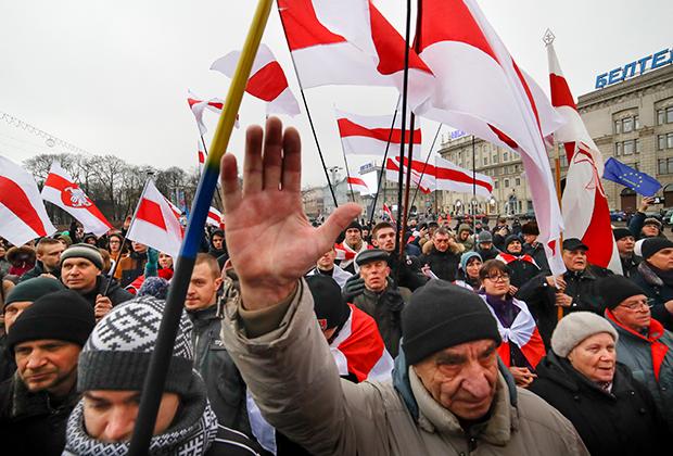 Демонстранты в Минске протестуют против интеграции с Россией, 21 декабря 2019 года