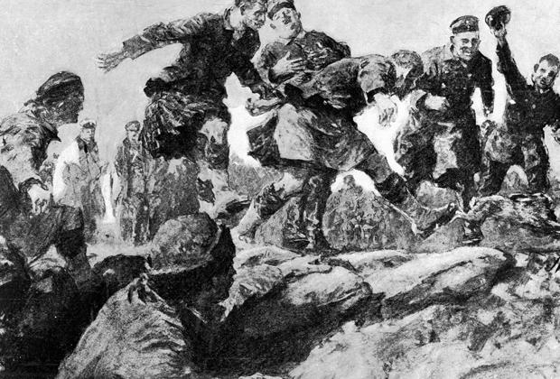 Эту картину художник Гилберт Холидей написал, основываясь на рассказах одного из солдат, видевшего Рождественское перемирие