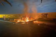 Место удара в аэропорту Багдада