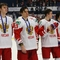 Хоккеисты молодежной сборной России на церемонии награждения