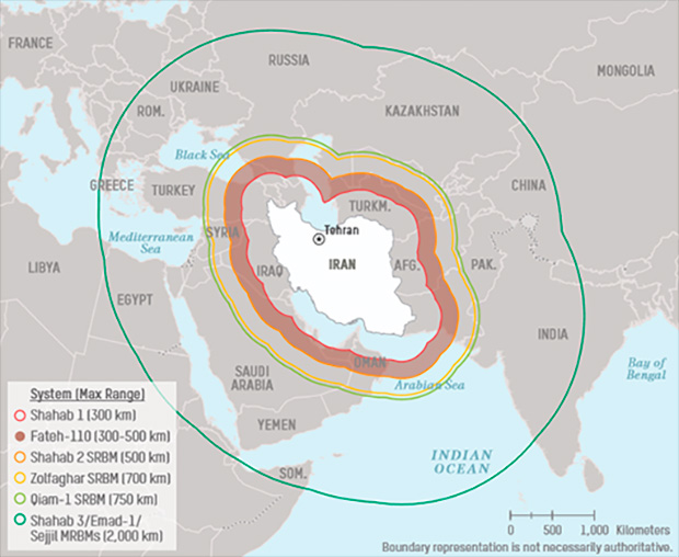 Попадающие под действие иранских ракет регионы