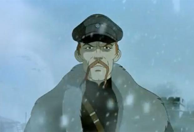 Барон Унгерн в мультфильме «Корто Мальтез: Погоня за золотым поездом» (Франция, Италия, Люксембург, 2002 год)