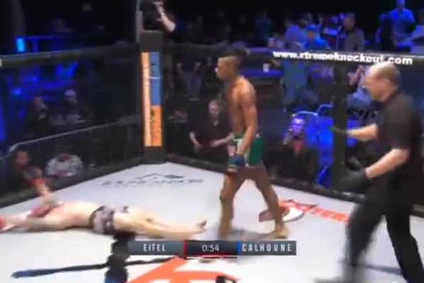 Боец MMA выбрался из-под соперника и нокаутировал его ударом коленом в
