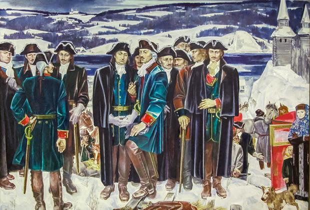 На полотне изображен один из этапов Второй Камчатской экспедиции — остановка ее участников в 1733 году в городе Оса.
