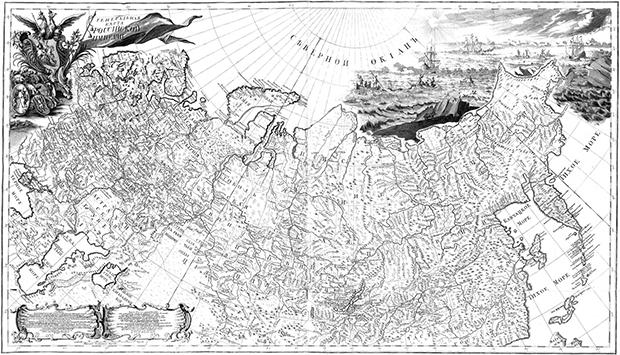 Карта Российской империи 1745 года на основе результатов Великой Северной экспедиции.