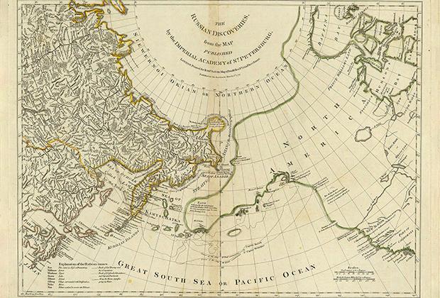 Географический факультет Санкт-Петербургской академии наук в 1754 году опубликовал карту с названием Nouvelle Carte des Decouvertes faites par des Vaisseaux Russiens (Карту Миллера) с нанесенными границами северо-восточной Евразии.