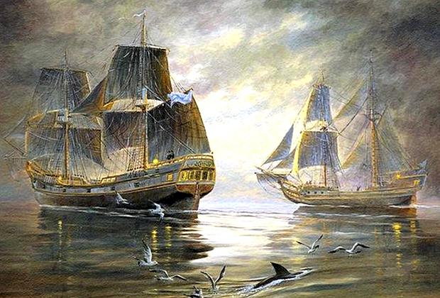 Деревянные парусные почтово-пассажирские суда участвовали во Второй Камчатской экспедиции под руководством Витуса Беринга и Алексея Чирикова.