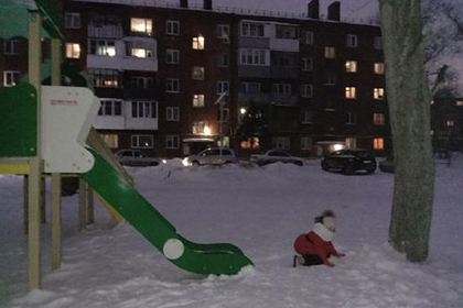В российском городе нашли детскую горку со съездом в дерево