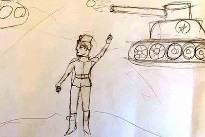 Нарисовавшую деда-ветерана российскую школьницу заставили пририсовать ему ногу