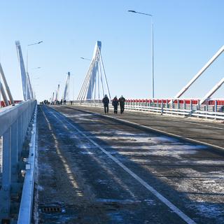 Мост через Амур из России в Китай в Благовещенске