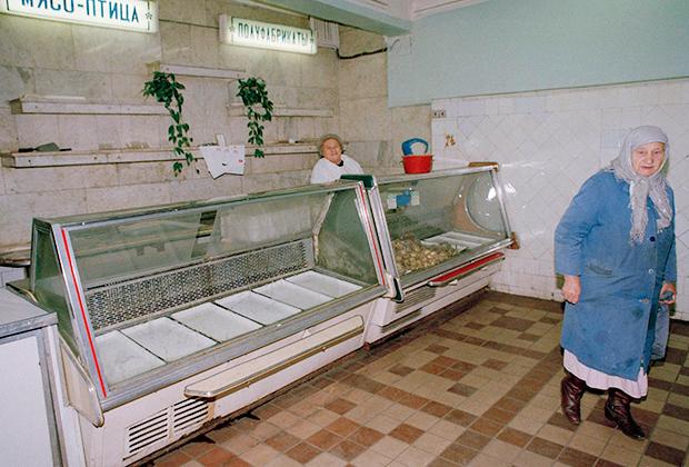 Пустые полки магазинов в центре Москвы. Октябрь, 1991 год