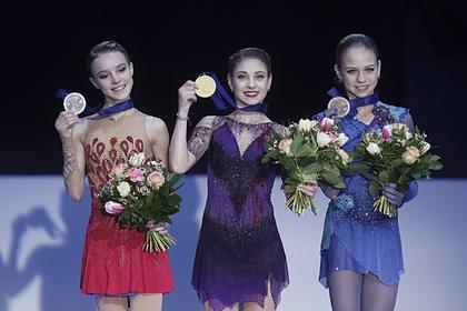 Анна Щербакова, Алена Косторная, Александра Трусова (слева направо)