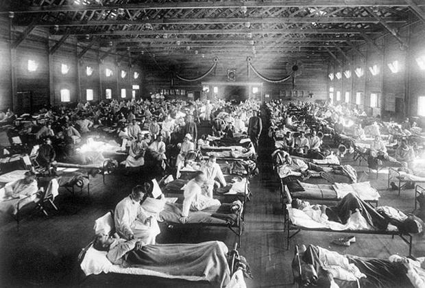 Военный госпиталь в США во время эпидемии «испанки»