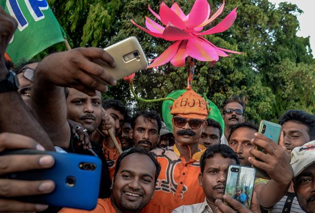 Сторонники партии «Бхаратия джаната»