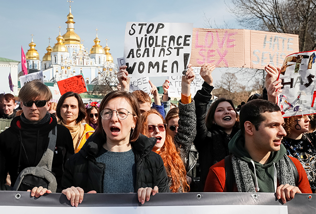 Митинг за гендерное равенство и против насилия в отношении женщин, 8 марта, в Киеве