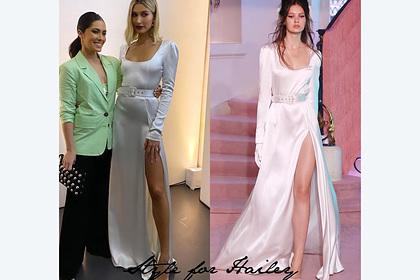 Жена Бибера появилась на публике в платье российского дизайнера