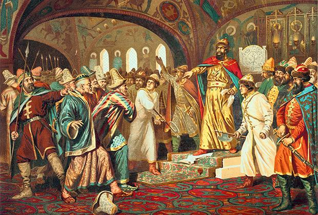 Алексей Кившенко «Иоанн III разрывает ханскую грамоту и топчет басму перед татарскими послами»