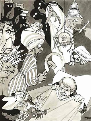 «Ночные кошмары американского президента Картера». Карикатура в западной прессе, 1978 год