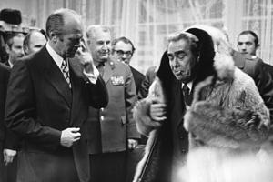 Джеральд Форд и Леонид Брежнев на саммите во Владивостоке, 1974 год
