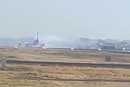 Двигатель самолета загорелся прямо перед взлетом