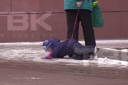 Россиянка привязала плачущего ребенка к «поводку» и потащила по асфальту
