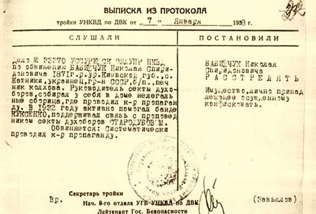 Типовая выписка из протокола заседания Тройки НКВД с приговором для вложения в личное дело осужденного