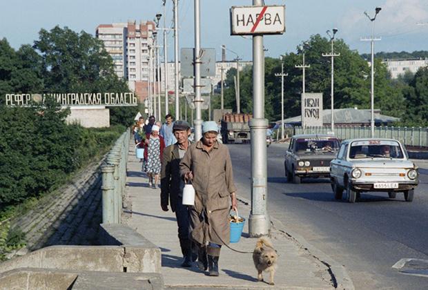 Мост, соединяющий город Нарву Эстонской республики и Ивангород Ленинградской области