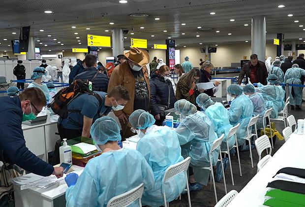 Контроль прилетающих в зоне прилета терминала F аэропорта Шереметьево