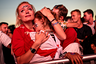 LONDON, ENGLAND  - JULY 11: England football fans react after their defeat as they watch the Hyde Park screening of the FIFA 2018 World Cup semi-final match between Croatia and England on July 11, 2018 in London, United Kingdom.The winner of this evening's match will go on to play France in Sunday's World Cup final in Moscow. Up to 30,000 free tickets were available by ballot for the biggest London screening of a football match since 1996. (Photo by Jack Taylor/Getty Images)