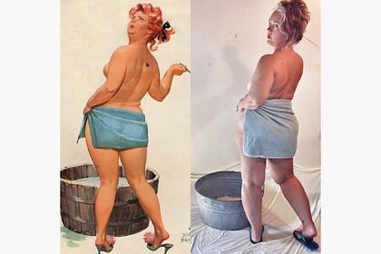 44-летняя женщина повторила откровенные образы популярной в 50-х героини