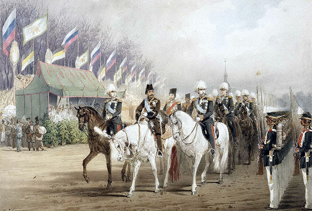 Михай Зичи «Александр II и Насир-ад-Дин Шах во время парада на Царицыном лугу»