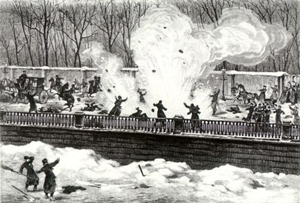 Неизвестный русский художник. Набережная Екатерининского канала 1 марта 1881 года. Момент убийства императора Александра II