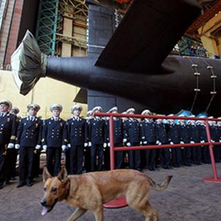 Церемония спуска на воду подлодки К-560 «Северодвинск»