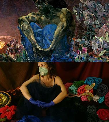 Картина Михаила Врубеля «Демон сидящий» (1890) и косплей Натальи Кузнецовой