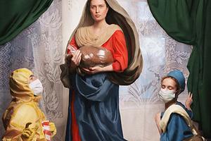 Пародия на картину Рафаэля Санти «Сикстинская мадонна»