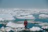 11-летняя инупиатская девочка стоит на льдине на берегу Северного Ледовитого океана, на мысе Барроу (Аляска). Аномальное таяние арктических льдов является одним из множества последствий глобального потепления, влияющих на жизнь человека и диких животных. В последние годы плавучий лед встречается все дальше от линии побережья, так как он начинает таять все раньше и быстрее. Таяние ледников привело к массовой миграции моржей и морских львов в 2015 году. Инупиатам становится все сложнее охотиться на животных.