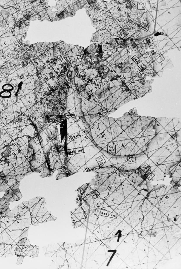 Часть полетной карты, обнаруженной на сбитом U-2 Фрэнсиса Пауэрса