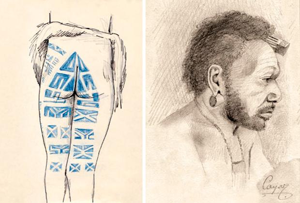 Слева — татуировка на теле папуаски, свидетельствовавшая о ее готовности к замужеству. Справа — папуас Саул с декоративным гребнем, служившим ему вилкой во время еды.